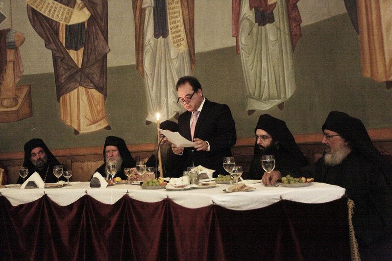Η αποχαιρετιστήρια ομιλία του Κωστή Δήμτσα στους Αγιορείτες στη μονή Ιβήρων