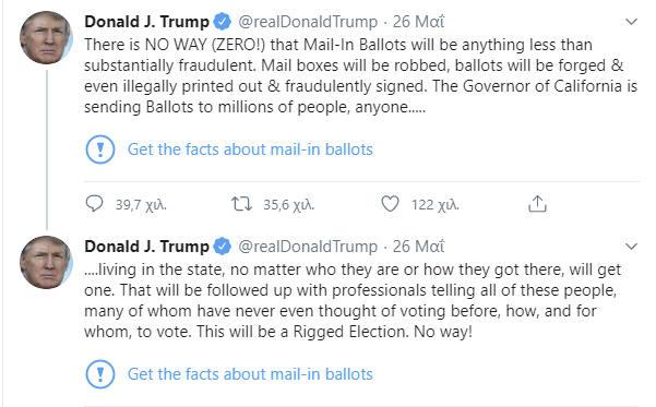 Οι δύο αναρτήσεις του Ντόναλντ Τραμπ που «χτύπησε» το Twitter ως αναληθείς