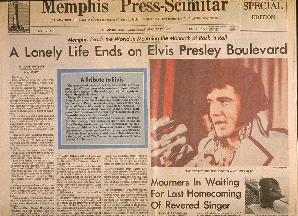 Τα πρωτοσέλιδα των αμερικανικών εφημερίδων την επομένη του θανάτου του Ελβις Πρίσλεϊ τον Αύγουστο του 1977