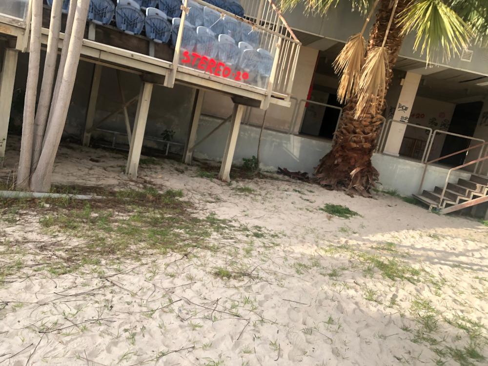 Χόρτα έχουν φυτρώσει πάνω στην άμμο που ήρθε για τους Ολυμπιακούς Αγώνες