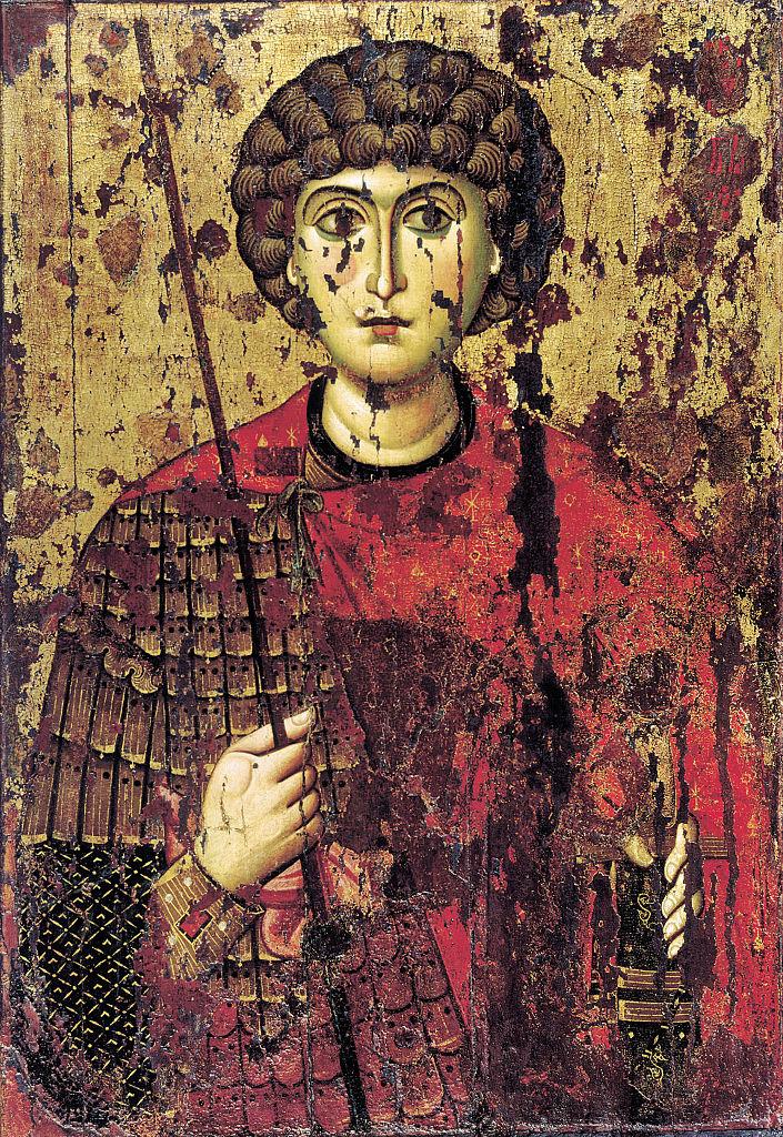 Εικόνα του Αγίου Γεωργίου. Οι πρώτες βυζαντινές εικόνες τον απεικονίζουν με στρατιωτική στολή, αλλά πεζό και όχι έφιππο