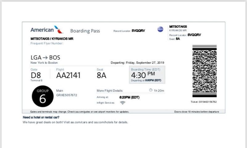 Το εισητήριο της πτήσης του Κυριάκου Μητσοτάκη για Βοστώνη