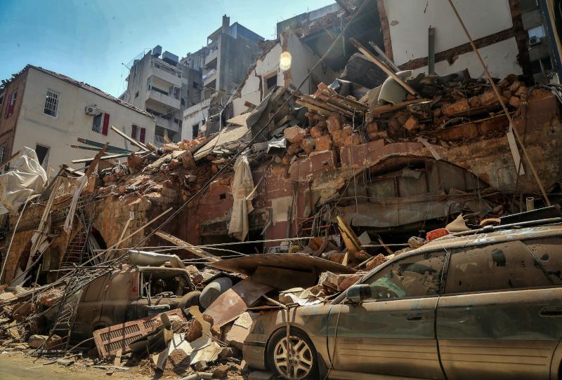 Κτίρια ισοπεδώθηκαν μετά την έκρηξη στη Βηρυτό