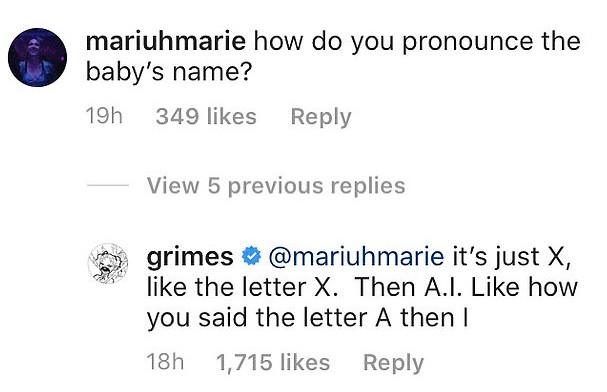 Grimes εξηγεί πως προφέρεται το όνομα του γιου με Έλον Μασκ