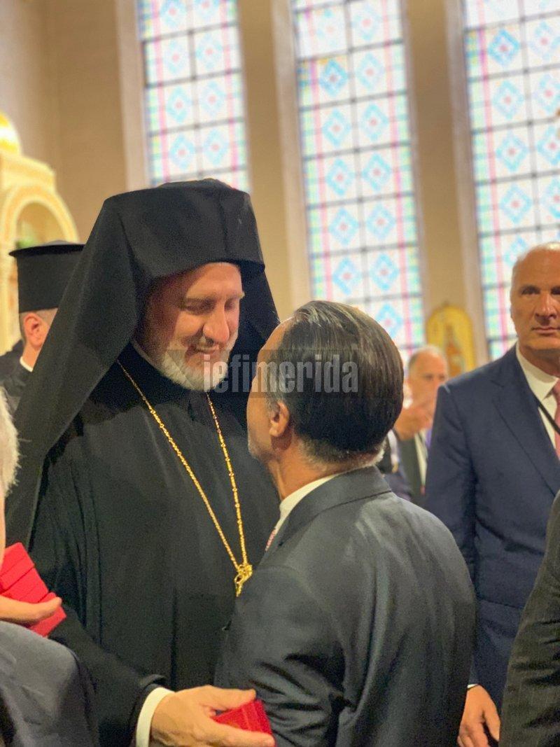 Ο Αρχιεπίσκοπος Αμερικής Ελπιδοφόρος με τον επιχειρηματία Κρίστιαν Χατζημηνά