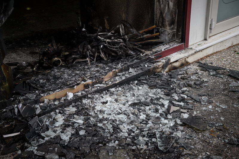Τεράστιες ζημιές στην τράπεζα στο Χαϊδάρι