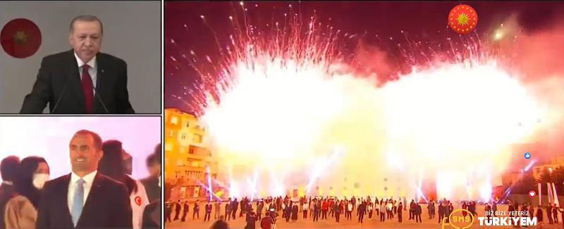 Πυροτεχνήματα μετά την ομιλία Ερντογάν