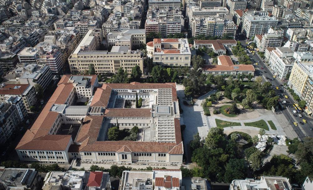 Αεροφωτογραφία από την περιοχή του Μετσοβείου πολυτεχνείου και του Αρχαιολογικού μουσείου