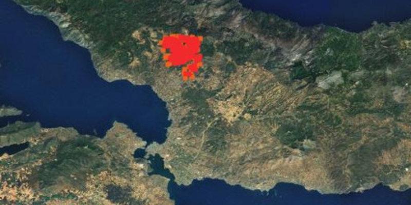 Χάρτης με την έκταση που κάηκε στη φωτιά στην Εύβοια