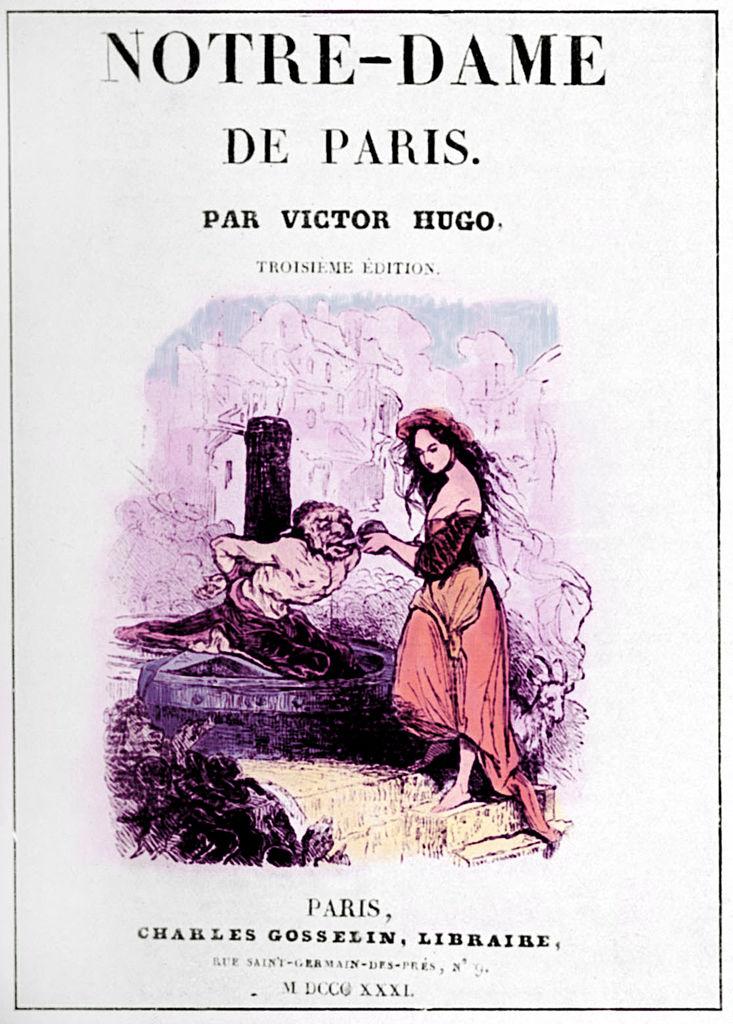 Εξώφυλλο βιβλίου του Ουγγώ για την πρώτη έκδοση της Παναγίας των Παρισίων