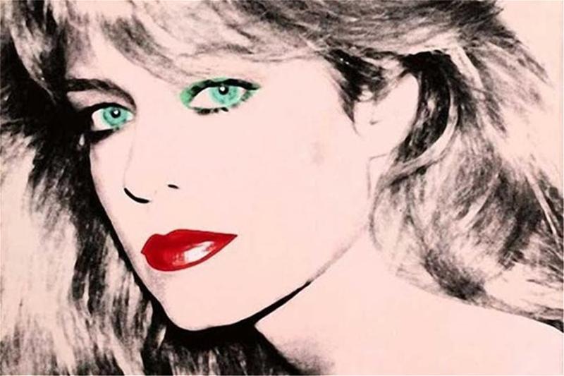 Το πορτρέτο της Φάρα Φόσετ. Ασπρόμαυρο με πράσινα μάτια και κόκκινα χείλη