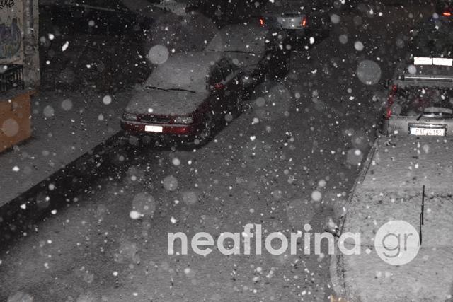 Δυνατή χιονόπτωση στη Φλώρινα