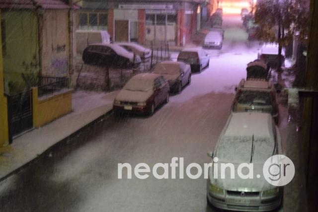 Χιόνι σε δρόμο της Φλώρινας