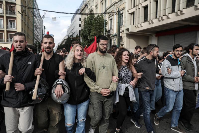 Φοιτητές στην πορεία προς το Σύνταγμα