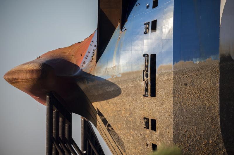 Το κάτω μέρος του φορτηγού πλοίου