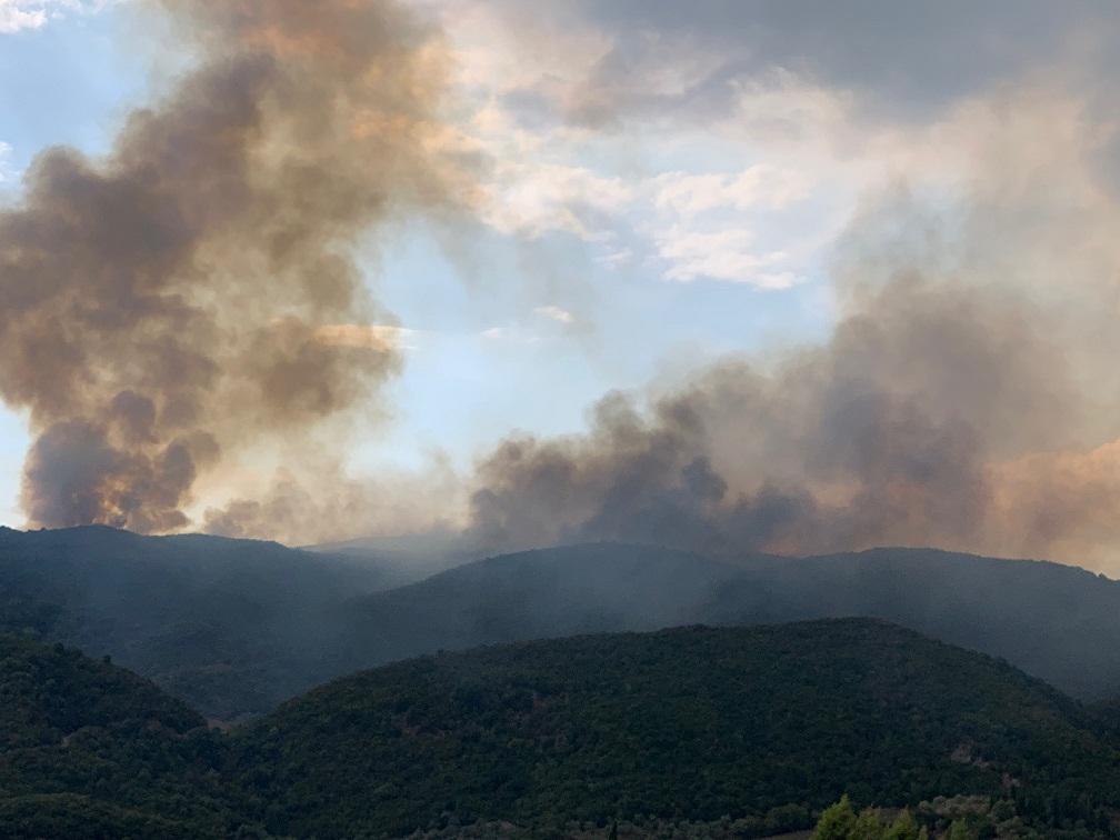 Οι καπνοί από τη μεγάλη φωτιά στη Σκουτερά Αγρινίου είναι ορατοί από χιλιόμετρα