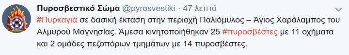Η ενημέρωση του Πυροσβεστικού Σώματος μέσω twitter