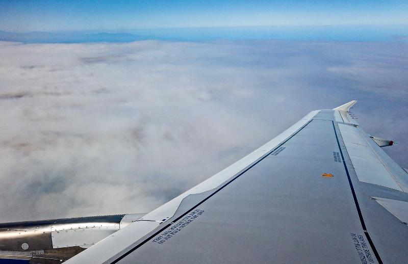 Η φωτιά στην Εύβοια όπως φαίνεται από την καμπίνα αεροπλάνου