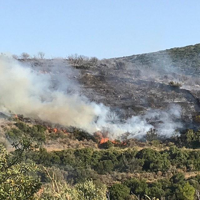 Οι φλόγες καίνε την πλαγιά στην περιοχή Αγία Πελαγία των Κυθήρων