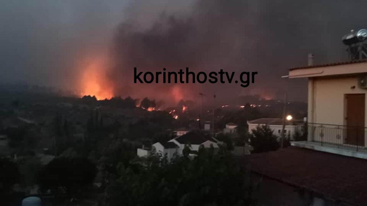 Φωτιά στην Κορινθία κοντά στις Κεχριές