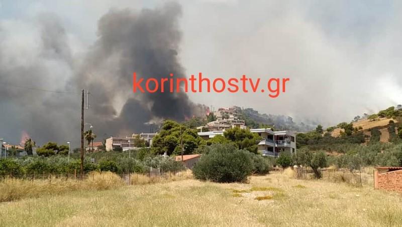 Μεγάλη πυρκαγιά στις Κεχριές Κορινθίας