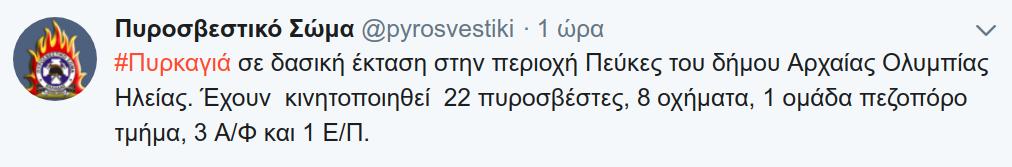 Η ενημέρωση της Πυροσβεστική μέσω twitter
