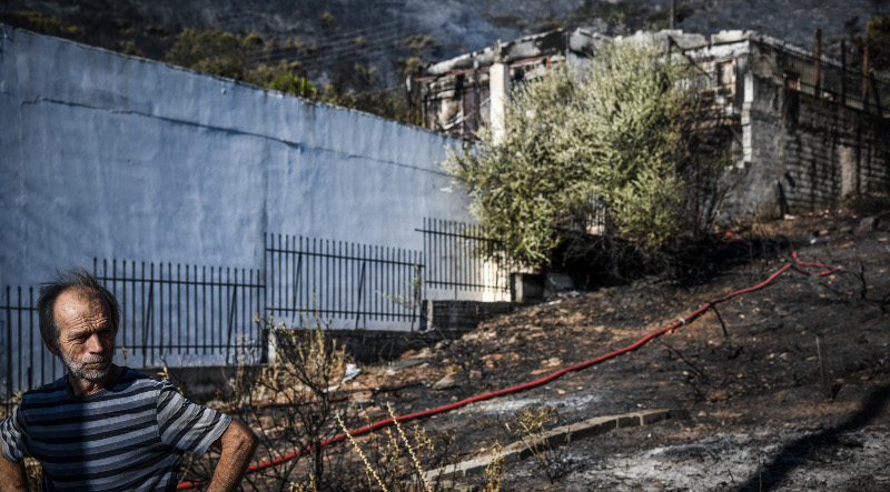 Τα σπίτια έχουν καεί ολοσχερώς σε αυτό το σημείο της Παινίας