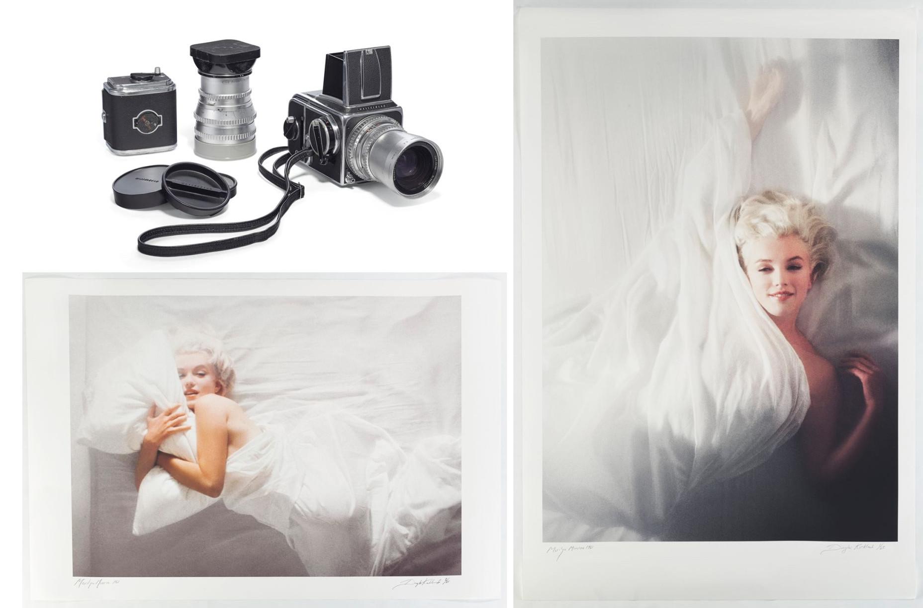Η φωτογραφική μηχανή και δύο οπισθόφυλλα περιοδικού από την συγκεκριμένη φωτογράφηση της Μέριλιν Μονρόε. Υπολογίζεται πως θα πωληθούν προς τουλάχιστον 200.000 δολάρια