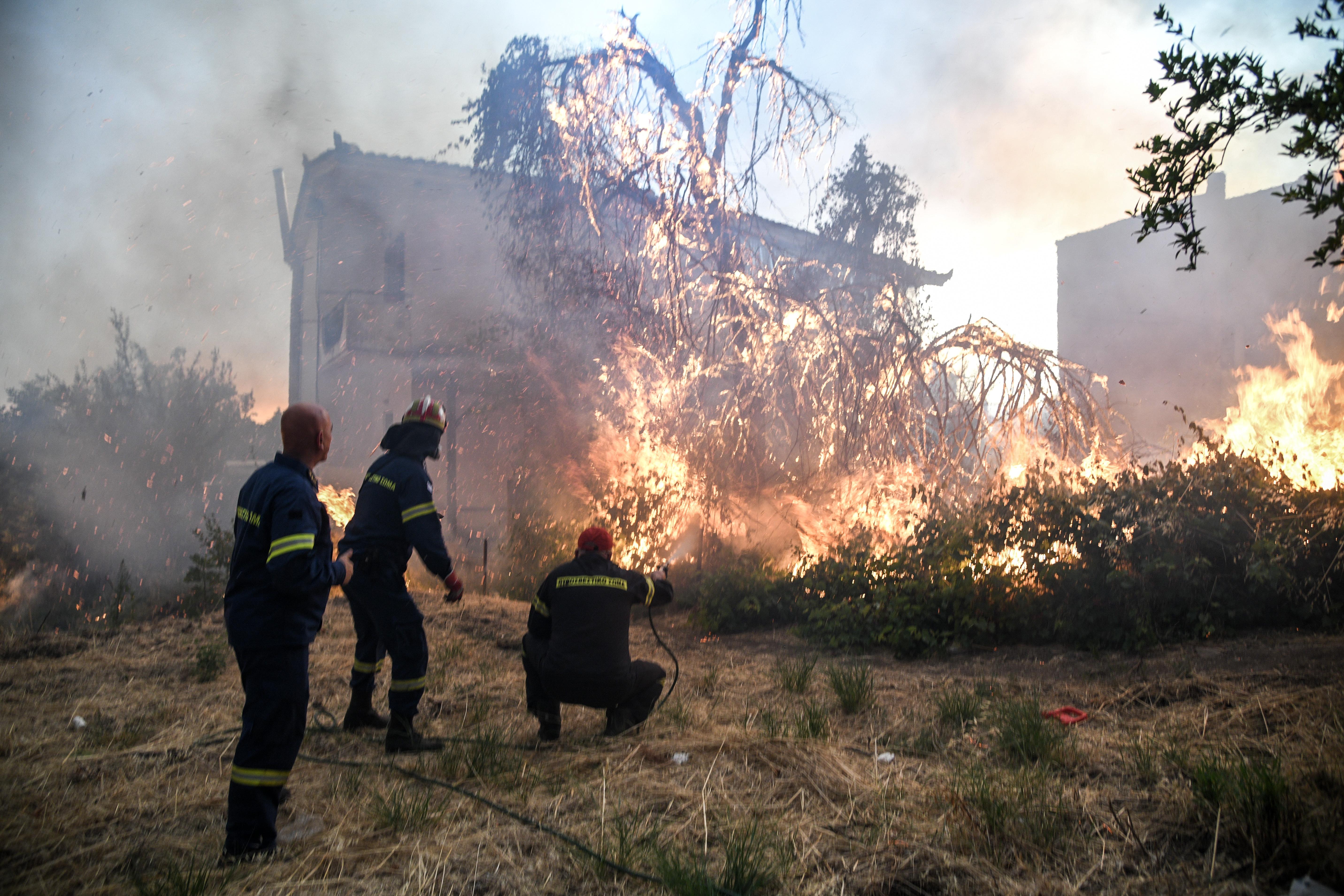 Πυροσβέστες προσπαθούν να σβήσουν δένδρο που φλέγεται έξω από ένα σπίτι