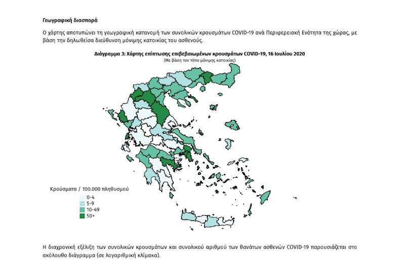 Γεωγραφική διασπορά κρουσμάτων κορωνοϊού