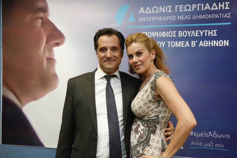 Ο Αδωνις Γεωργιάδης με την Ευγενία Μανωλίδου