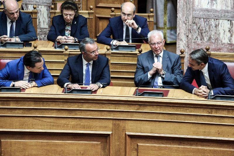 Αδωνις Γεωργιάδης, Χρήστος Σταϊκούρας, Παναγιώτης Πικραμμένος και Κυριάκος Μητσοτάκης