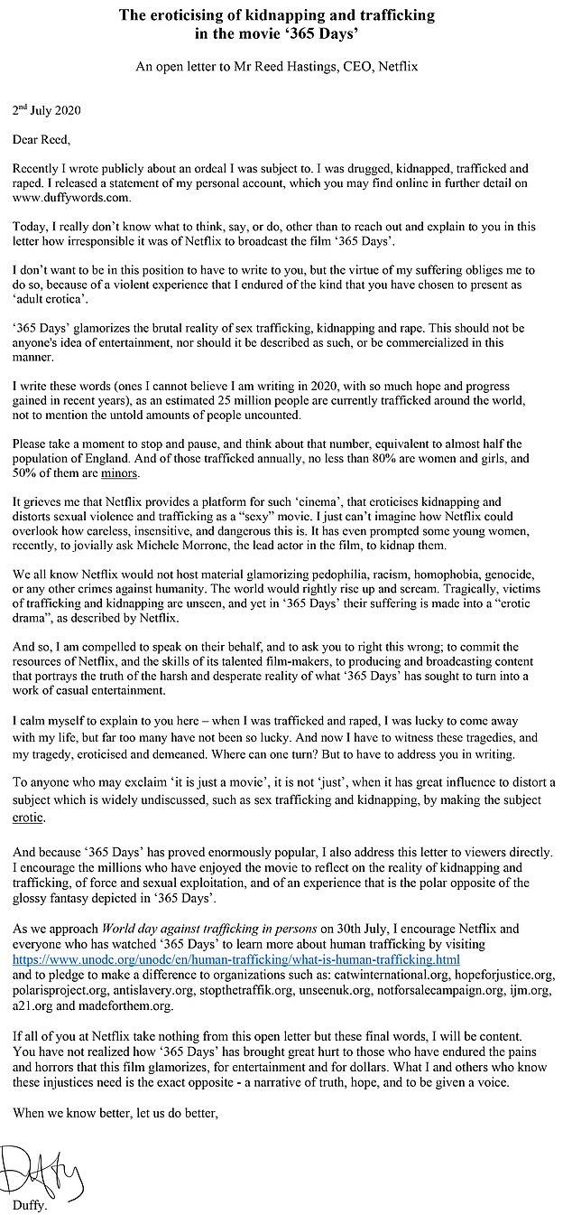 Το γράμμα της Ντάφι στον CEO του Netflix