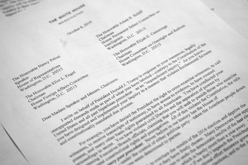 Επιστολή στην Νάνσι Πελόζι από Λευκό Οίκο