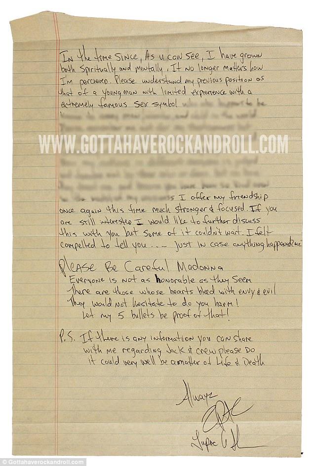 Ο Τούπακ έγραψε την επιστολή στη Μαντόνα μέσα από τη φυλακή