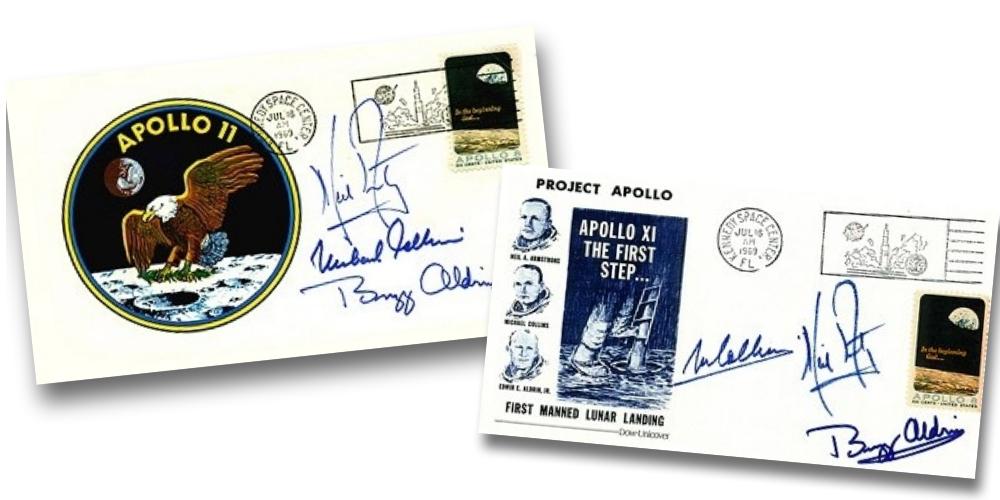 Δύο από τα γράμματα με την υπογραφή των αστροναυτών του Apollo 11