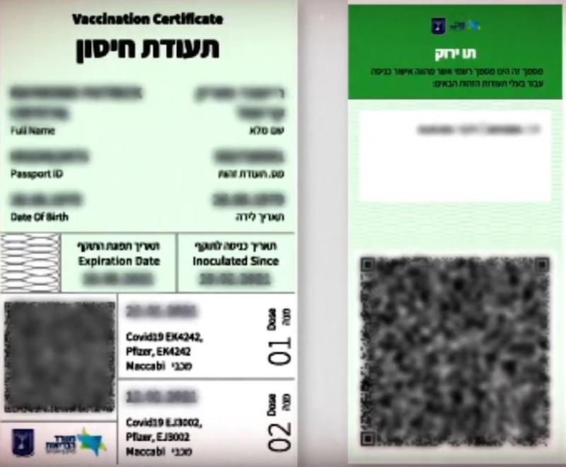 Ένα δείγμα του πράσινου διαβατηρίου στο Ισραήλ