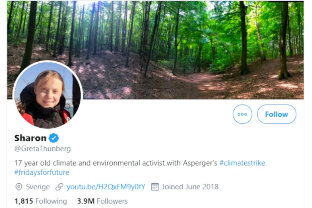 Το νέο όνομα της Γκρέτα Τούνμπεργκ στο twitter. Η Σουηδή συμπλήρωσε το Γενάρη τα 17 χρόνια