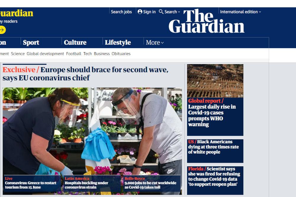 Στην κεντρική σελίδα της Guardian αναφέρεται η ανακοίνωση της κυβέρνησης για τον τουρισμό
