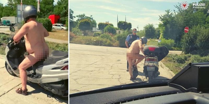 Γυμνός οδηγός με σκούτερ
