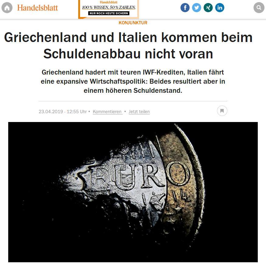 «Η Ελλάδα και η Ιταλία δεν σημειώνουν πρόοδο στην απομείωση του χρέους» τιτλοφορεί το άρθρο της η Handelsblatt.