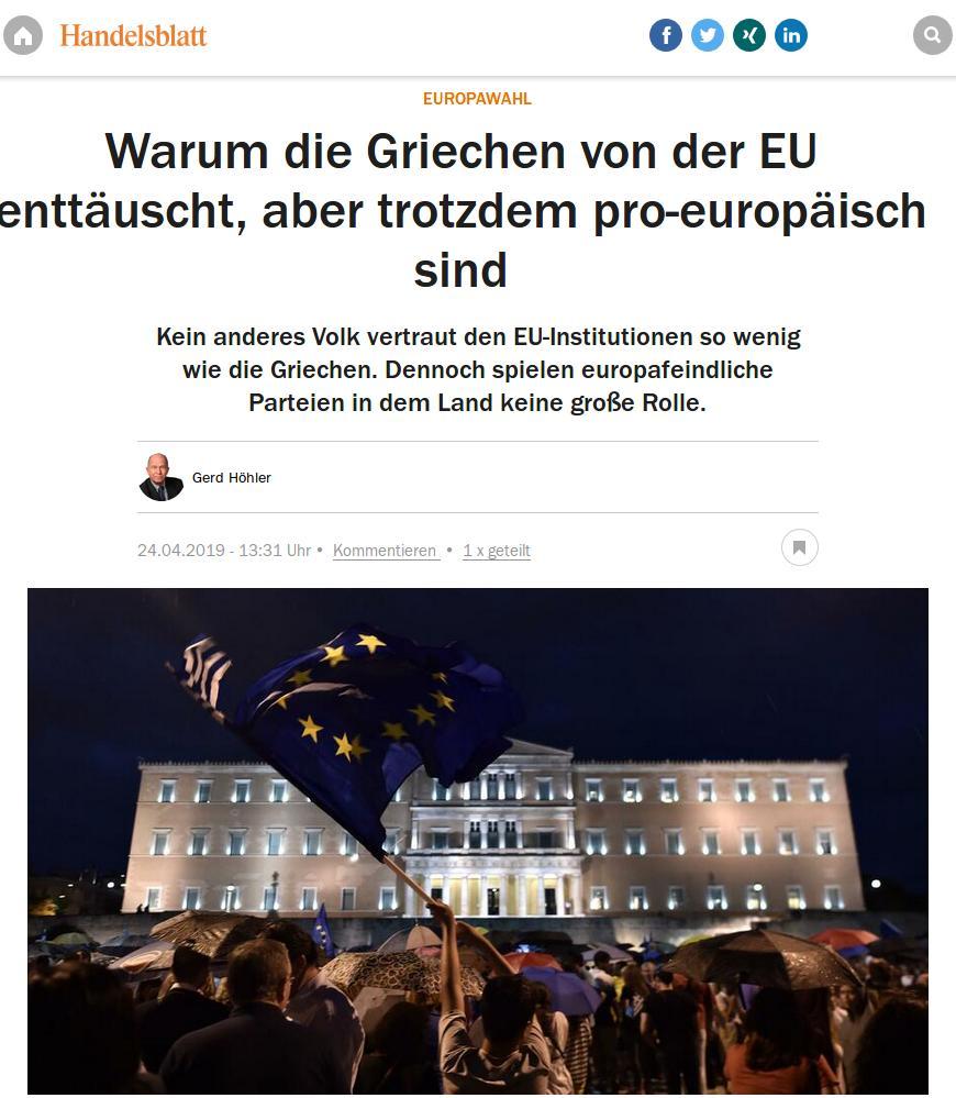 Η ανταπόκριση της Handelsblatt από την Αθήνα με τίτλο: «Γιατί οι Έλληνες είναι απογοητευμένοι από την ΕΕ, αλλά παραμένουν ευρωπαϊστές»