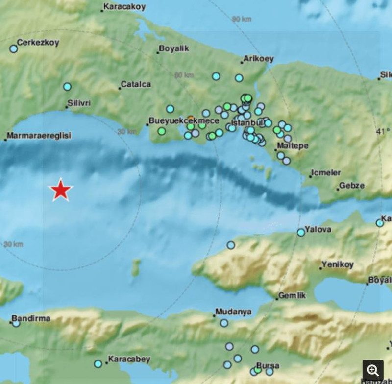 Ο χάρτης του σεισμού της Πόλης