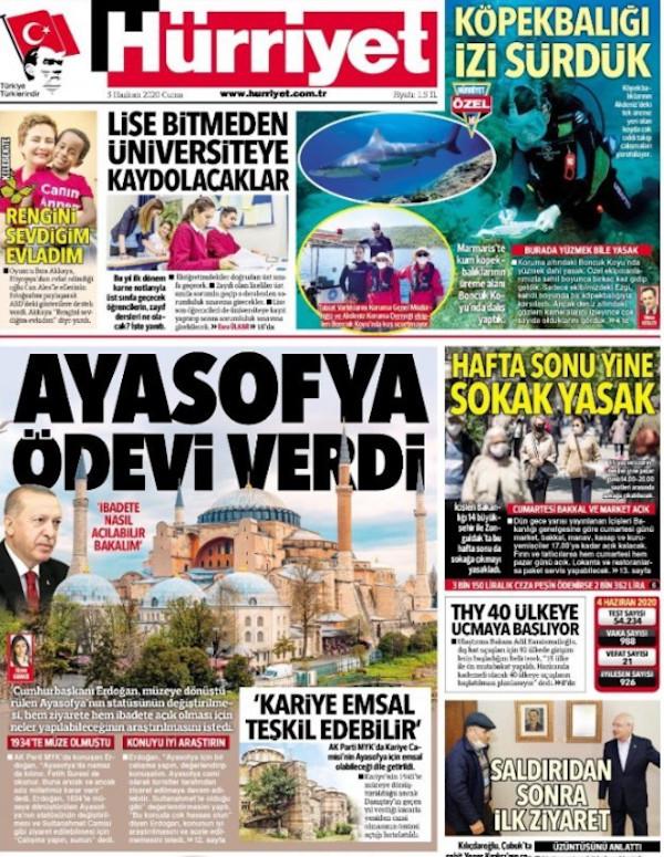 Το δημοσίευμα της τουρκικής εφημερίδας για την Αγιά Σοφιά