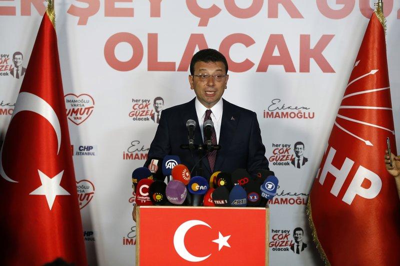 Ο Ιμάμογλου κάνει δηλώσεις μετά την νίκη του στην Κωνσταντινούπολη