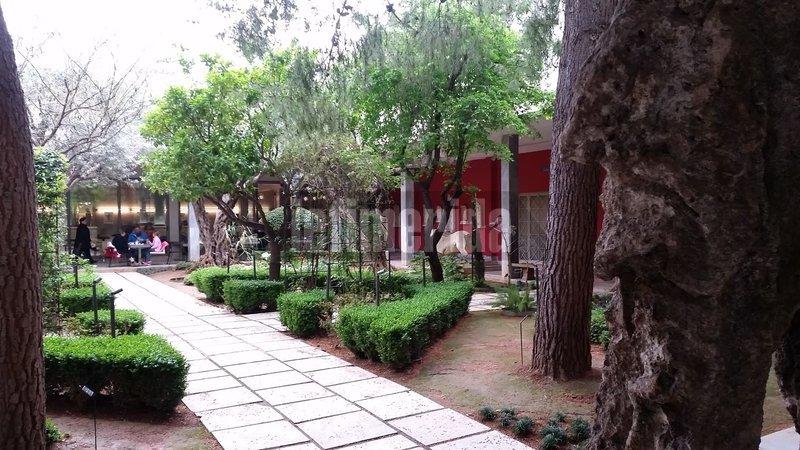 Το καφέ του μουσείου στο βάθος και το πλακόστρωτο δρομάκι του κήπου