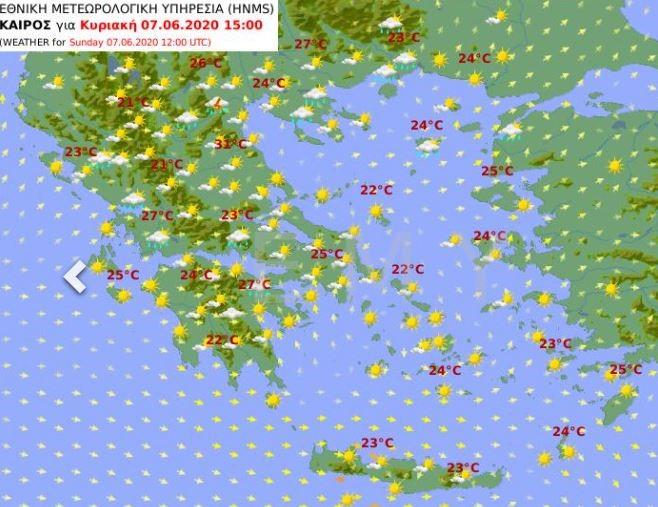 Ο χάρτης του καιρού της Κυριακής / Πηγή: EMY