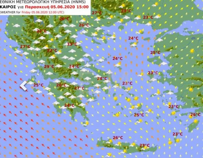 Ο χάρτης του καιρού της Παρασκευής / Πηγή: EMY