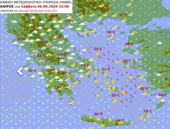 Ο χάρτης του καιρού του Σαββάτου