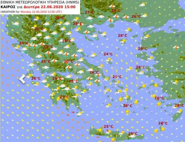 Ο χάρτης της ΕΜΥ για τον καιρό της Δευτέρας